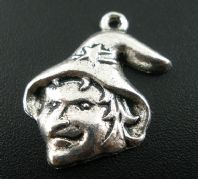 10 Antique Silver Halloween Witch Charms 16x23mm